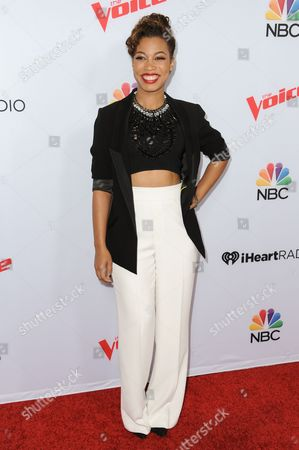 The Voice contestant India Carney arrives at Season 8 of 'The Voice' Red Carpet Event held at the Pacific Design Center, in West Hollywood, Calif