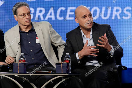 Executive Producer David Gelber and Executive Producer/Climate Expert Daniel Abbasi seen at Showtime's 2014 Winter TCA, on in Pasadena, Calif