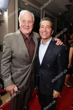 Jerry Weintraub and Bruce Rosenblum, Chairman & CEO of the Academy of Television Arts & Sciences seen at Showtime's 2014 Emmy Eve Soiree held at the Sunset Tower Hotel, in Los Angeles