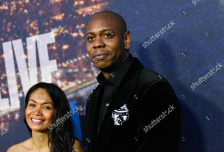 Dave Chappelle and wife Elaine Chappelle attend the SNL 40th Anniversary Special at Rockefeller Plaza, in New York