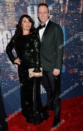 David Cone and Taja Abitbol attend the SNL 40th Anniversary Special at Rockefeller Plaza, in New York