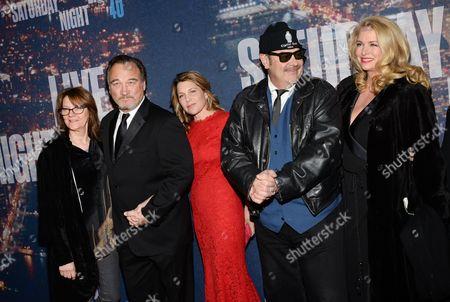 Judith Belushi, James Belushi, Jennifer Sloan, Dan Aykroyd and Donna Dixon attend the SNL 40th Anniversary Special at Rockefeller Plaza, in New York