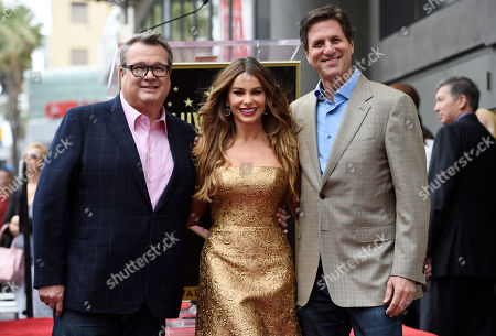 "Actress Sofia Vergara, center, poses with her ""Modern Family"" cast mate Eric Stonestreet, left, and the show's co-creator/executive producer Steve Levitan during a ceremony to award her a star on the Hollywood Walk of Fame, in Los Angeles"