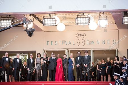 Pierre Lescure, Thierry Fremaux, Ethan Coen, Sophie Marceau, Rossy de Palma, Guillermo Del Toro, Rokia Traore, Xavier Dolan, Sienna Miller, Jake Gyllenhaal and Joel Coen arrive for the opening ceremony and the screening of the film La Tete en Haut (Standing Tall) at the 68th international film festival, Cannes, southern France