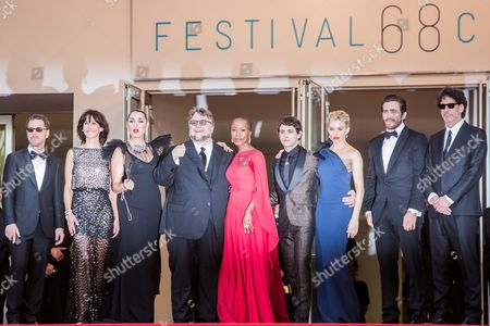 Ethan Coen, Sophie Marceau, Rossy de Palma, Guillermo Del Toro, Rokia Traore, Xavier Dolan, Sienna Miller, Jake Gyllenhaal and Joel Coen arrive for the opening ceremony and the screening of the film La Tete en Haut (Standing Tall) at the 68th international film festival, Cannes, southern France