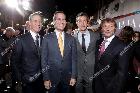 """Jon Feltheimer, Chief Executive Officer of Lionsgate, Mayor of Los Angeles Eric Garcetti, Erik Feig, Co-President of Lionsgate Motion Picture Group, and Patrick Wachsberger, Co-Chairman of Lionsgate Motion Picture Group, seen at Summit Entertainment, a Lionsgate Company, Presents the Los Angeles Premiere of """"La La Land"""" at Village Theatre, in Los Angeles"""