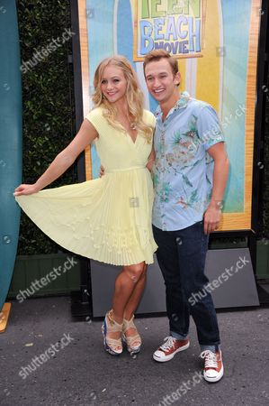 """Mollee Gray, left, and Kent Boyd attend the """"Teen Beach Movie"""" screening e at event at The Walt Disney studios on in Burbank, Calif"""