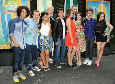 "From left, Jordan Fisher, Chrissie Fit, Kent Boyd, Mollee Gray, John DeLuca, Ross Lynch, Maia Mitchell, William T. Loftis, Grace Phipps, Garrett Clayton, Jessica Lee Keller, and Kevin Chamberlin attend the ""Teen Beach Movie"" screening e at event at The Walt Disney studios on in Burbank, Calif"