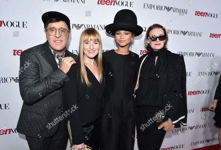 Andrew Bevan, and from left, Amy Astley, Zendaya and Lisa Love arrive at Teen Vogue's Young Hollywood Party, in Beverly Hills, Calif