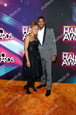 Beth Gardner and Nick Cannon arrive at the TeenNick HALO Awards at the Hollywood Palladium, in Los Angeles