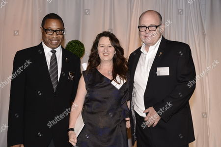 Screech Washington, and from left, Blair Breard and Tim Gibbons attend the Television Academy's 66th Emmy Awards Producers Nominee Reception at the London West Hollywood on