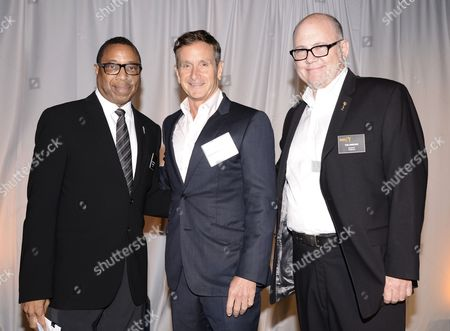 Screech Washington, and from left, Dante Di Loreto and Tim Gibbons attend at the Television Academy's 66th Emmy Awards Producers Nominee Reception at the London West Hollywood on