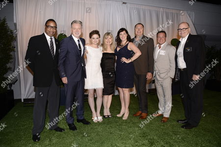 Screech Washington, and from left, Warren Littlefield, Joey King, Kim Todd, Allison Tolman, Mike Frislev, Chad Oakes andTim Gibbons attend at the Television Academy's 66th Emmy Awards Producers Nominee Reception at the London West Hollywood on