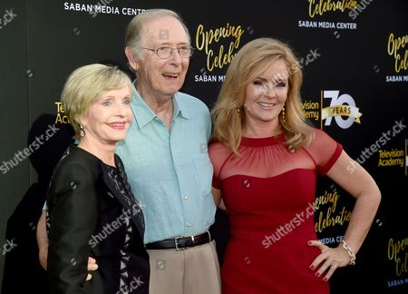 Florence Henderson, from left, Bernie Kopell, and Jill Whelan arrive at the Television Academy's 70th Anniversary Gala and Opening Celebration for its new Saban Media Center, in the NoHo Arts District in Los Angeles
