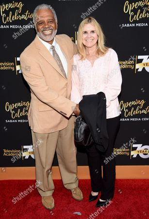 Ted Lange, left, and Mary Ley arrive at the Television Academy's 70th Anniversary Gala and Opening Celebration for its new Saban Media Center, in the NoHo Arts District in Los Angeles