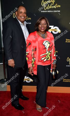 Loretta Devine, right, and Glenn Marshall arrive at the Television Academyâ?™s 70th Anniversary Gala and Opening Celebration for its new Saban Media Center, in the NoHo Arts District in Los Angeles