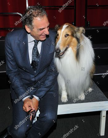 Stock Picture of Michael Richards, left, and Lassie at the Television Academy's 70th Anniversary Gala and Opening Celebration for its new Saban Media Center, in the NoHo Arts District in Los Angeles