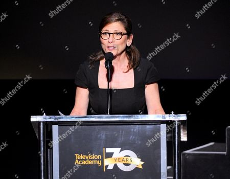 CBS's Nina Tassler accepts the Hall of Fame Cornerstone Award at the Television Academy's 70th Anniversary Gala and Opening Celebration for its new Saban Media Center, in the NoHo Arts District in Los Angeles