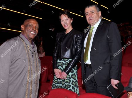 Louis Gossett Jr, from left, Cheryl Saban and Haim Saban at the Television Academy's 70th Anniversary Gala and Opening Celebration for its new Saban Media Center, in the NoHo Arts District in Los Angeles