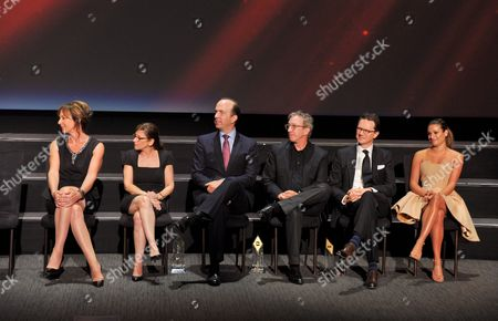 Allison Janney, from left, Nina Tassler, Ben Sherwood, Tim Allen, Peter Rice, and Lea Michele on stage at the Television Academy's 70th Anniversary Gala and Opening Celebration for its new Saban Media Center, in the NoHo Arts District in Los Angeles
