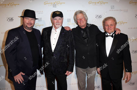 Stock Photo of From left, Chrisopther Cross, Mike Love, Dean Torrence, and Bruce Johnston pose together at The Society of Singers' 21st ELLA Awards on in Beverly Hills, Calif. The event honored Mike Love, lead singer and co-founder of The Beach Boys, producer Nigel Lythgoe, and backup singers The Waters Family
