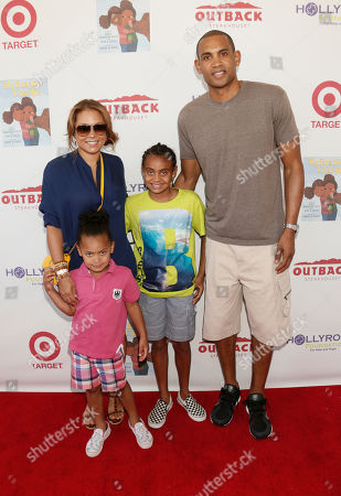 Tamia Hill, Grant Hill and family attend the 3rd Annual My Brother Charlie Family Fun Festival at Culver Studios on in Culver City, Calif