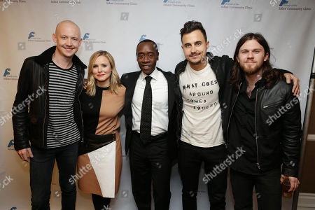 Kristen Bell and Don Cheadle with Isaac Slade, Joe King and Dave Welsh, of the musical group The Fray, at The Saban Community Clinic 37th Annual Dinner Gala, on in Beverly Hills, Calif