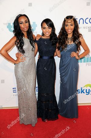 From left, Lauryn McClain, China Anne McClain, and Sierra McClain arrive at The Thirst Project's Annual Gala held at the Beverly Hilton Hotel, in Los Angeles