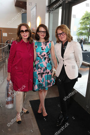 From left, Maria Tuttle, Anne Stringfield and Hammer Museum director Ann Philbin pose during The Un-Private Collection: Eric Fischl and Steve Martin, an art talk presented by The Broad museum and held at The Broad Stage, in Santa Monica, Calif