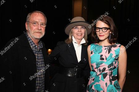 From left, actor Martin Mull, actress Diane Keaton and Anne Stringfield pose during The Un-Private Collection: Eric Fischl and Steve Martin, an art talk presented by The Broad museum and held at The Broad Stage, in Santa Monica, Calif