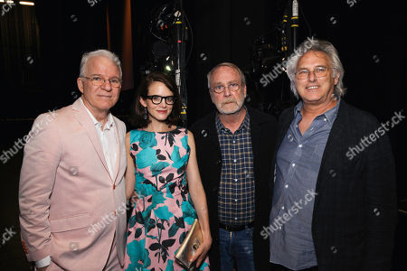 From left, Steve Martin, Anne Stringfield, Martin Mull and artist Eric Fischl pose during The Un-Private Collection: Eric Fischl and Steve Martin, an art talk presented by The Broad museum and held at The Broad Stage, in Santa Monica, Calif