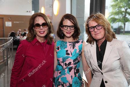 Stock Picture of From left, Maria Tuttle, Anne Stringfield and Hammer Museum director Ann Philbin pose during The Un-Private Collection: Eric Fischl and Steve Martin, an art talk presented by The Broad museum and held at The Broad Stage, in Santa Monica, Calif