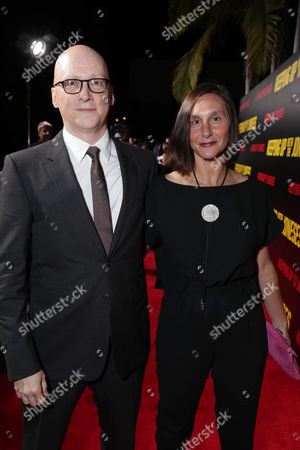 """Director Greg Mottola and guest seen at Twentieth Century Fox """"Keeping Up with the Joneses"""" red carpet event, in Los Angeles"""