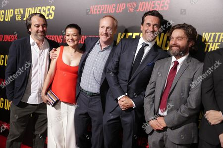"Greg Mooridian, EVP of Production for Fox 2000, Maribeth Monroe, Matt Walsh, Jon Hamm and Zach Galifianakis seen at Twentieth Century Fox ""Keeping Up with the Joneses"" red carpet event, in Los Angeles"