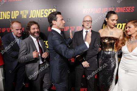 "Matt Walsh, Zach Galifianakis, Jon Hamm, Director Greg Mottola, Gal Gadot and Isla Fisher seen at Twentieth Century Fox ""Keeping Up with the Joneses"" red carpet event, in Los Angeles"