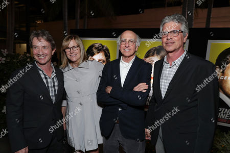 "Martin Short, Producer Laurie MacDonald, Larry David and Producer Walter F. Parkes seen at Twentieth Century Fox ""Keeping Up with the Joneses"" red carpet event, in Los Angeles"