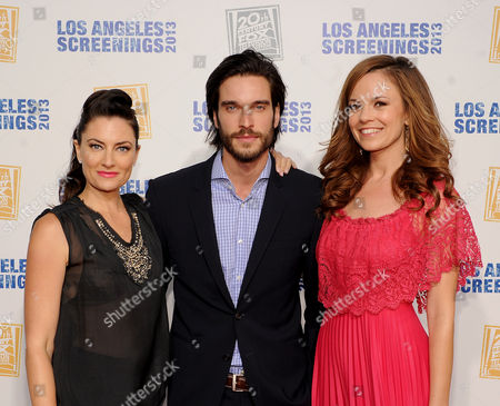 L-R) Madchen Amick, Daniel DiTomasso and Rachael Boston arrive at Twentieth Century Fox Television Distribution's 2013 LA Screenings Lot Party on in Los Angeles, California