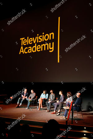 From left to right, Adam Foss, Scott Budnick, Courtney Kemp Aghoh, moderator Baratunde Thurston, John Legend, Ana Yanez-Correa, and Howard Gordon participate in the Television Academy's UNLOCK OUR POTENTIAL member event at the Academy's Wolf Theater and Saban Media center on in Los Angeles