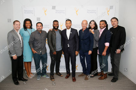From left to right, Maury McIntyre CEO of the Television Academy, Courtney Kemp Aghoh, Scott Budnick, Moderator Baratunde Thurston, John Legend, Howard Gordon, Ana Yanez-Correa, Adam Foss, and President of Programming at Showtime Gary Levine pose at the Television Academy's UNLOCK OUR POTENTIAL member event at the Academy's Wolf Theater and Saban Media center on in Los Angeles