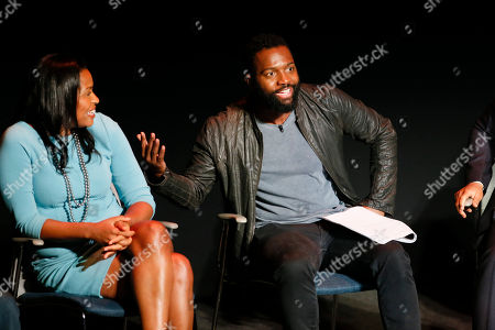 Courtney Kemp Aghoh and oderator Baratunde Thurston participate in the Television Academy's UNLOCK OUR POTENTIAL member event at the Academy's Wolf Theater and Saban Media center on in Los Angeles