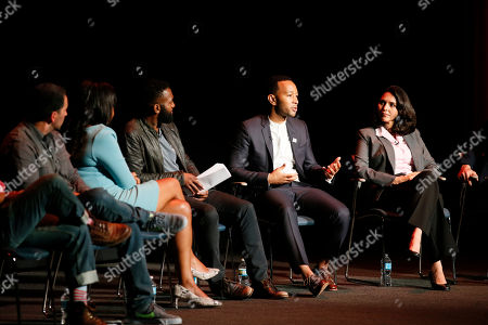 From left to right, Scott Budnick, Courtney Kemp Aghoh, moderator Baratunde Thurston, John Legend, and Ana Yanez-Correa participate in the Television Academy's UNLOCK OUR POTENTIAL member event at the Academy's Wolf Theater and Saban Media center on in Los Angeles