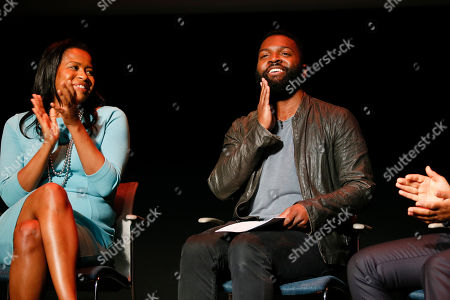 Courtney Kemp Aghoh, left, and moderator Baratunde Thurston participate in the Television Academy's UNLOCK OUR POTENTIAL member event at the Academy's Wolf Theater and Saban Media center on in Los Angeles
