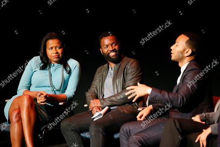 From left to right, Courtney Kemp Aghoh, Moderator Baratunde Thurston, and John Legend participate in the Television Academy's UNLOCK OUR POTENTIAL member event at the Academy's Wolf Theater and Saban Media center on in Los Angeles