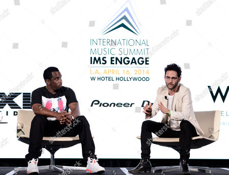 "IMAGE DISTRIBUTED FOR W HOTELS WORLDWIDE - Sean ""Diddy"" Combs, left, and Guy Gerber attend the International Music Summit - IMS Engage at W Hollywood,, in Los Angeles"
