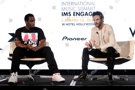 """Sean """"Diddy"""" Combs, left, and Guy Gerber attend the International Music Summit - IMS Engage at the W Hollywood,, in Los Angeles"""