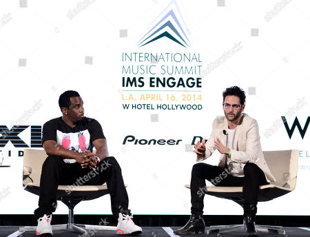 "Sean ""Diddy"" Combs, left, and Guy Gerber attend the International Music Summit - IMS Engage at W Hollywood,, in Los Angeles"