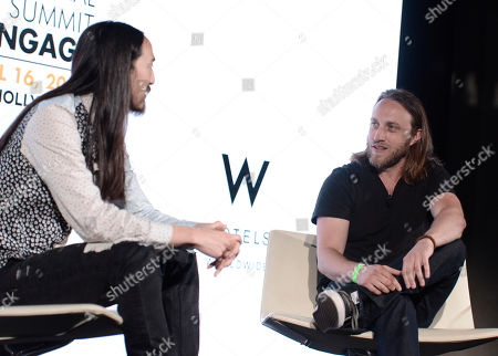 Steve Aoki, left, and Chad Hurley attend the International Music Summit - IMS Engage at the W Hollywood,, in Los Angeles
