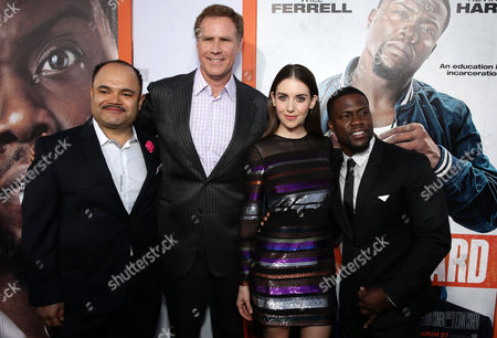 "Erick Chavarria, Will Ferrell, Alison Brie and Kevin Hart seen at Warner Bros. Pictures Los Angeles Premiere of ""Get Hard"", in Hollywood"