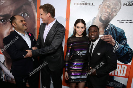 "Stock Picture of Erick Chavarria, Will Ferrell, Alison Brie and Kevin Hart seen at Warner Bros. Pictures Los Angeles Premiere of ""Get Hard"", in Hollywood"