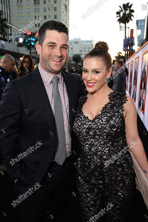 """CAA's Dave Bugliari and Alyssa Milano seen at Warner Bros. Pictures Los Angeles Premiere of """"Get Hard"""", in Hollywood"""